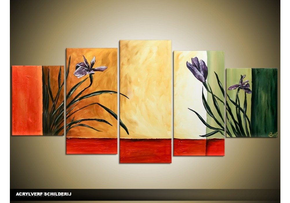 Acryl schilderij woonkamer rood cr me groen Schilderij woonkamer