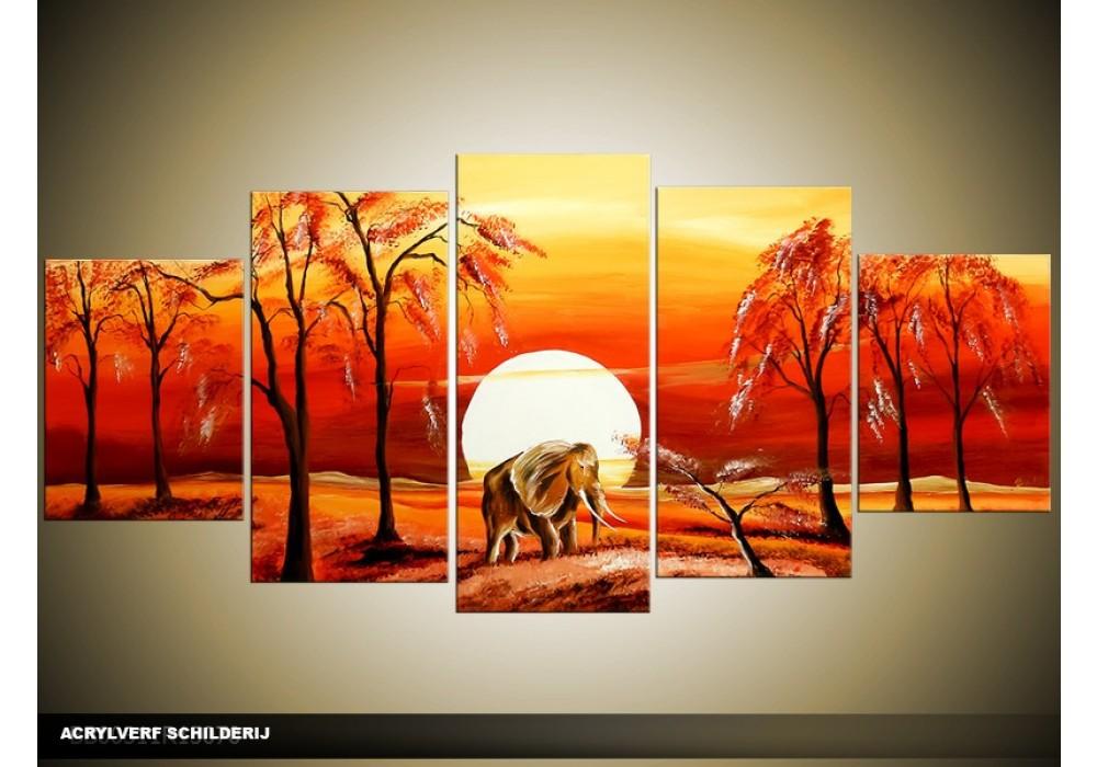 Acryl schilderij natuur rood geel 150x70cm 5luik for Schilderij natuur