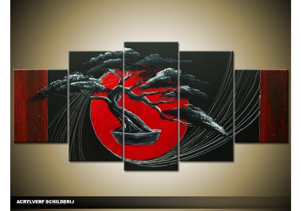Wonderbaar Acryl Schilderij Bonsai | Rood, Zwart | 150x70cm 5Luik FD-58