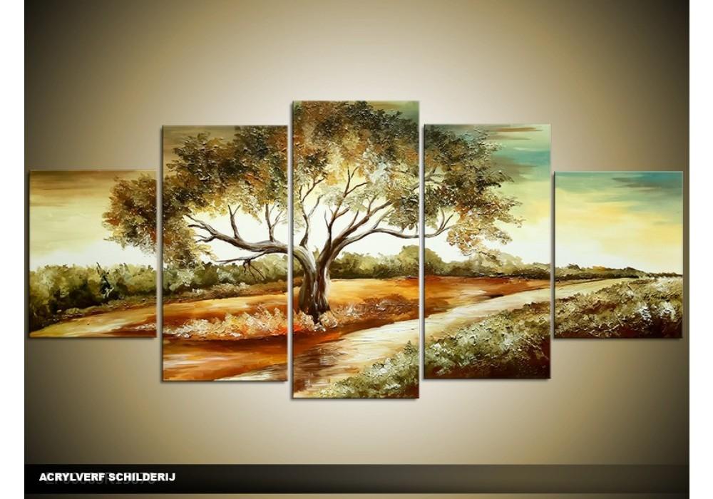 Verbazingwekkend Acryl Schilderij Natuur | Bruin, Crème | 150x70cm 5Luik CR-16