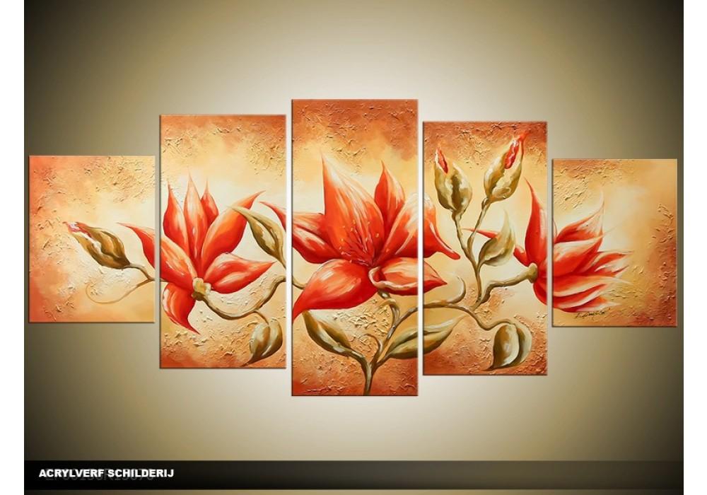 Acryl schilderij woonkamer oranje bruin 150x70cm for Schilderij woonkamer