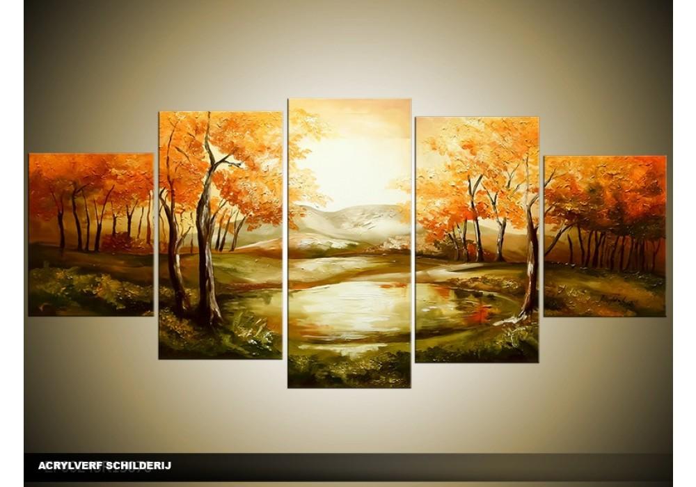 Acryl schilderij natuur bruin oranje 150x70cm for Schilderij natuur
