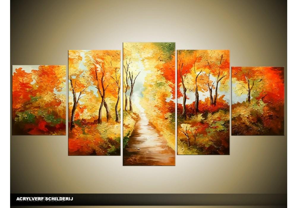 Acryl schilderij natuur oranje bruin 150x70cm for Schilderij natuur