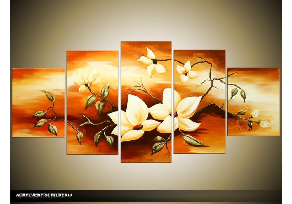 Acryl schilderij woonkamer bruin cr me 150x70cm for Schilderij woonkamer