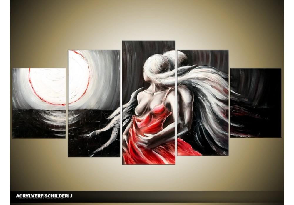 Ongekend Acryl Schilderij Modern | Zwart, Rood, Grijs | 150x70cm XN-14