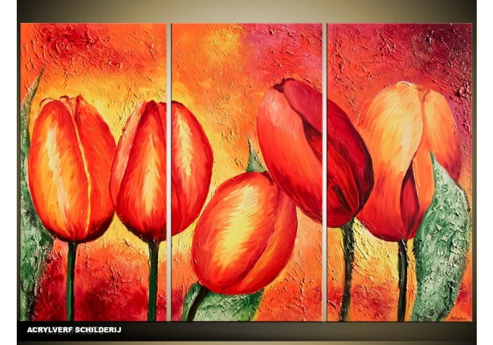 Onwijs Acryl Schilderij Tulp | Rood, Oranje, Geel | 120x80cm NU-83