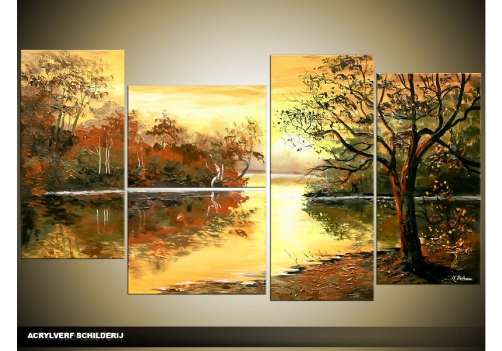 Acryl schilderij natuur bruin cr me 130x70cm 5luik for Schilderij natuur