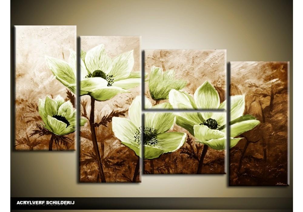 Acryl schilderij woonkamer groen bruin 130x70cm for Schilderij woonkamer