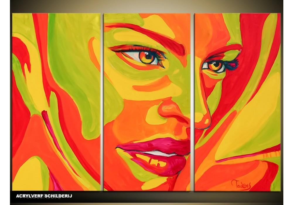 Nieuw Acryl Schilderij Vrouw | Groen, Oranje | 120x80cm 3Luik SD-03