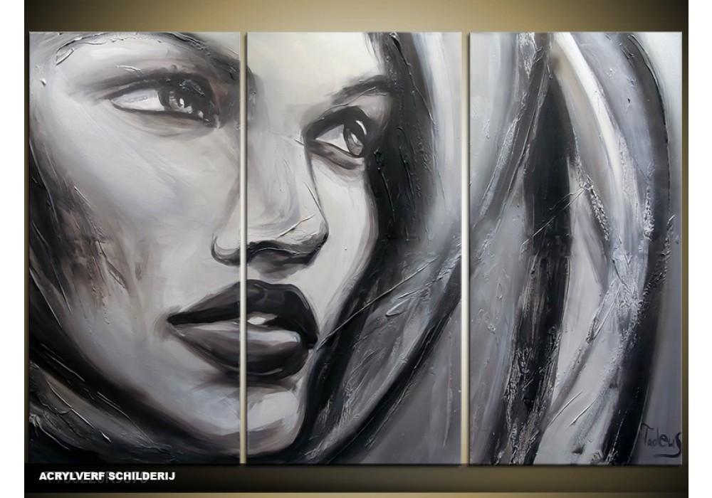 Welp Acryl Schilderij Vrouw | Grijs, Zwart | 120x80cm 3Luik IQ-81