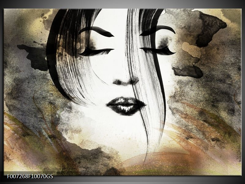 Genoeg Glas Schilderij Vrouw, Gezicht   Zwart, Wit, Bruin #NN75