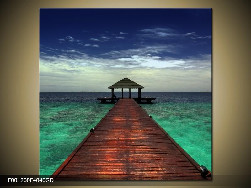 OP VOORRAAD Glas schilderij Zee | 40x40cm | F001200GS