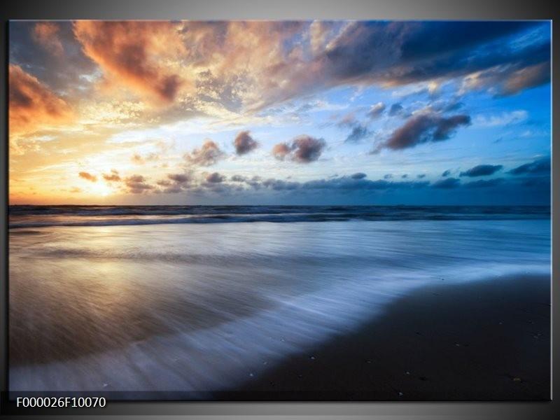 Foto canvas schilderij Zee | Blauw, Geel, Wit