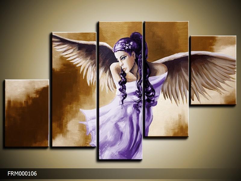 Acryl Schilderij Modern | Bruin, Paars | 150x70cm 5Luik Handgeschilderd