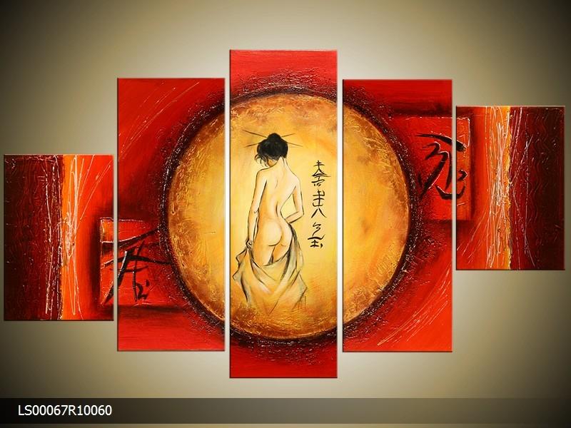Acryl Schilderij Modern | Rood, Geel | 150x70cm 5Luik Handgeschilderd