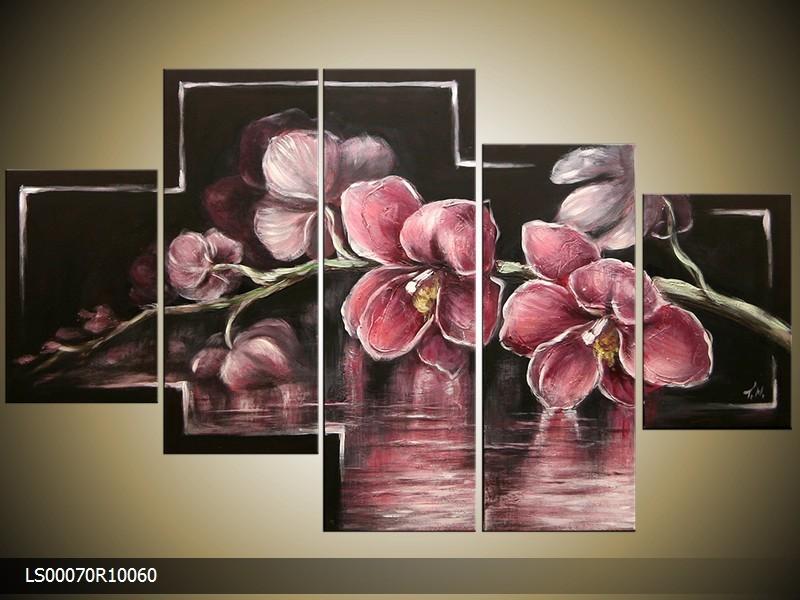 Acryl Schilderij Orchidee | Roze, Zwart | 150x70cm 5Luik Handgeschilderd