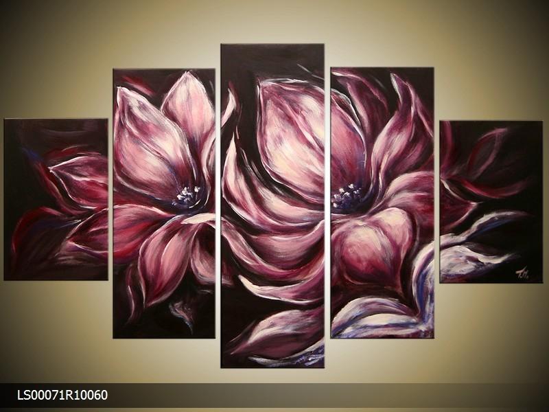 Acryl Schilderij Magnolia | Grijs, Zwart, Roze | 150x70cm 5Luik Handgeschilderd