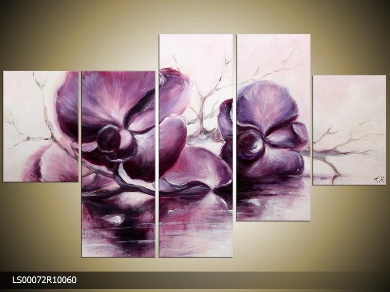 Acryl Schilderij Orchidee | Paars, Crème | 150x70cm 5Luik Handgeschilderd