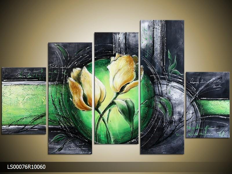 Acryl Schilderij Roos | Groen, Grijs, Geel | 150x70cm 5Luik Handgeschilderd