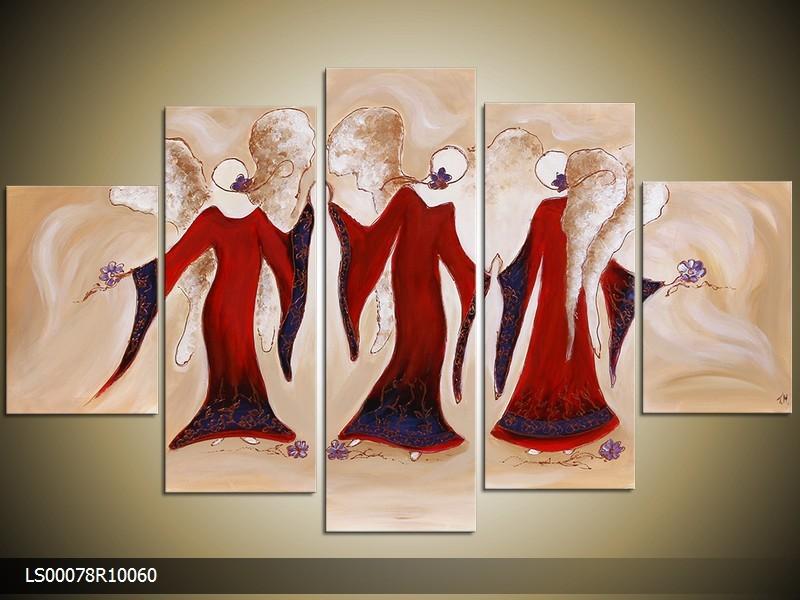 Acryl Schilderij Angel | Rood, Crème | 150x70cm 5Luik Handgeschilderd