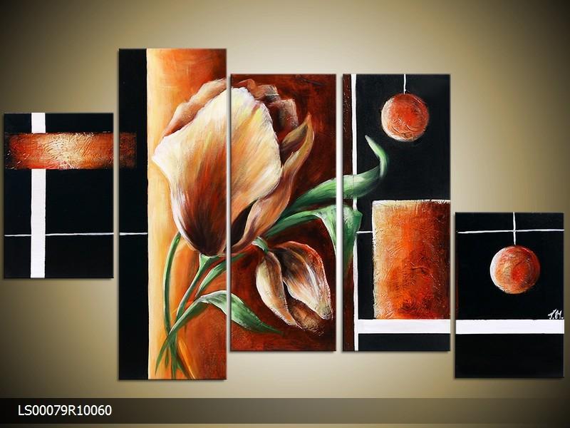 Acryl Schilderij Roos | Oranje, Bruin, Zwart | 150x70cm 5Luik Handgeschilderd