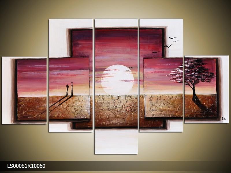 Acryl Schilderij Natuur | Paars, Bruin, Wit | 150x70cm 5Luik Handgeschilderd