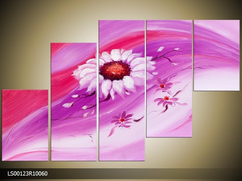 Acryl Schilderij Modern | Roze, Paars | 150x70cm 5Luik Handgeschilderd