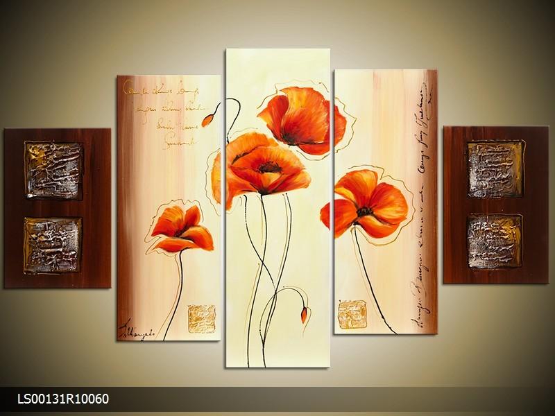 Acryl Schilderij Klaproos | Oranje, Crème, Bruin | 150x70cm 5Luik Handgeschilderd