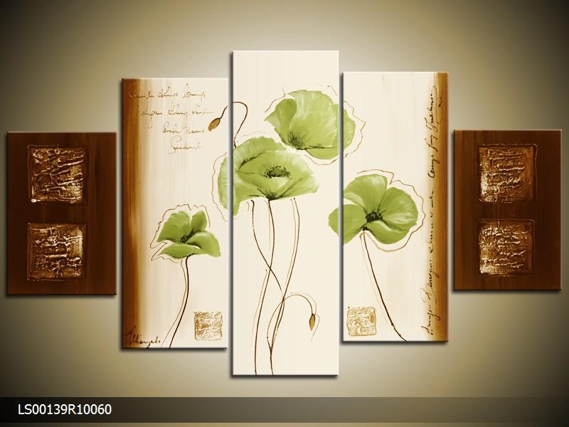 Acryl Schilderij Klaproos | Groen, Crème, Bruin | 150x70cm 5Luik Handgeschilderd