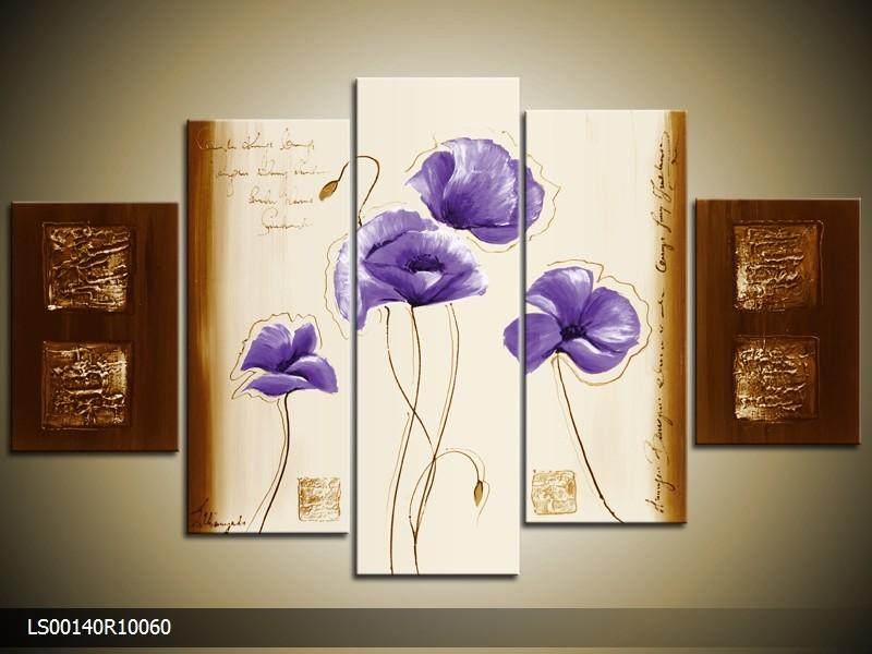Acryl Schilderij Klaproos | Paars, Crème, Bruin | 150x70cm 5Luik Handgeschilderd