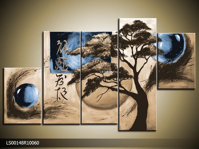 Acryl Schilderij Modern | Blauw, Crème | 150x70cm 5Luik Handgeschilderd