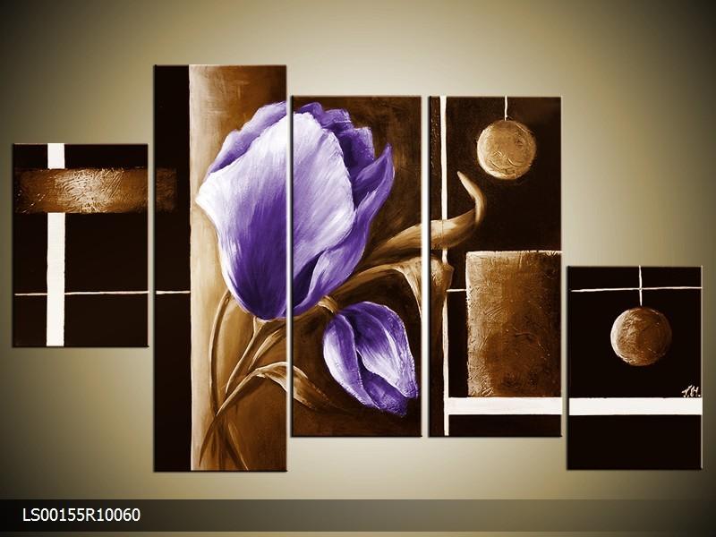 Acryl Schilderij Roos | Paars, Bruin | 150x70cm 5Luik Handgeschilderd