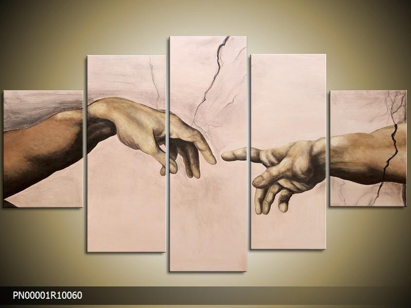 Acryl Schilderij Kunst, Sexy | Crème | 150x70cm 5Luik Handgeschilderd