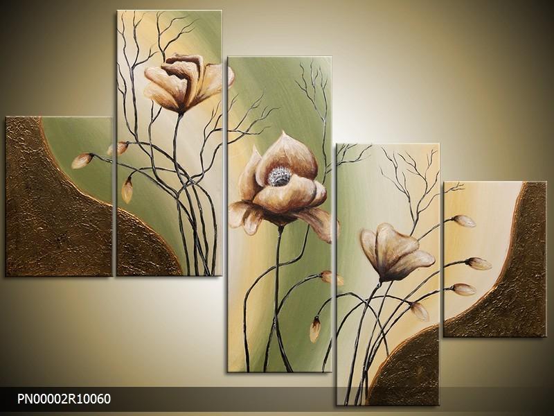 Acryl Schilderij Klaproos | Bruin, Groen, Geel | 150x70cm 5Luik Handgeschilderd