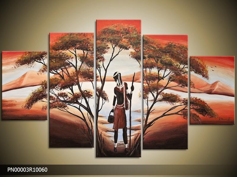 Acryl Schilderij Afrika | Rood, Bruin, Oranje | 150x70cm 5Luik Handgeschilderd
