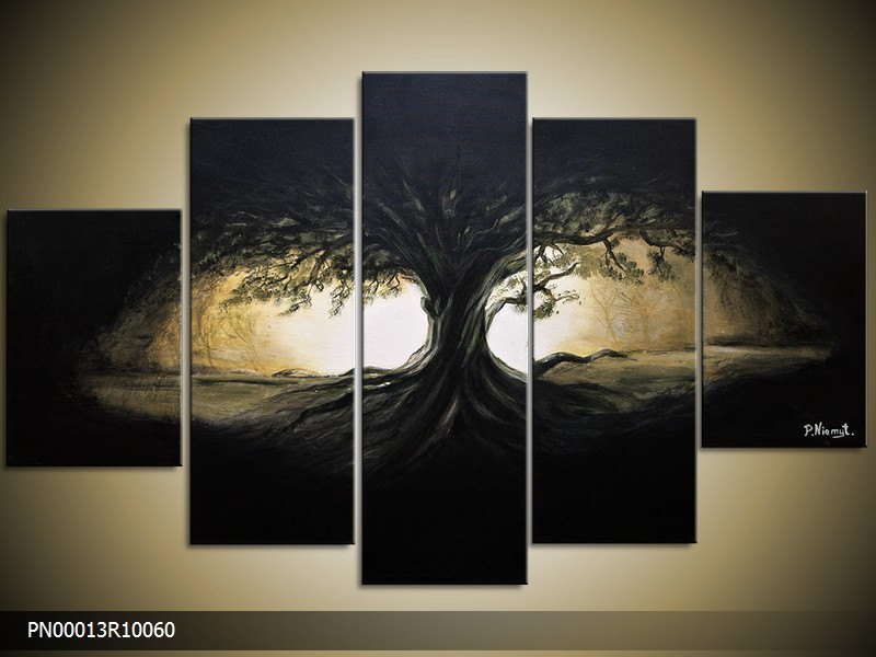 Acryl Schilderij Boom | Zwart, Geel, Blauw | 150x70cm 5Luik Handgeschilderd