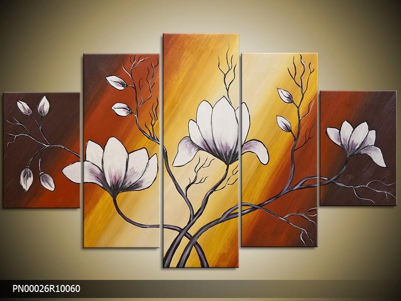 Acryl Schilderij Magnolia | Bruin, Geel, Wit | 150x70cm 5Luik Handgeschilderd