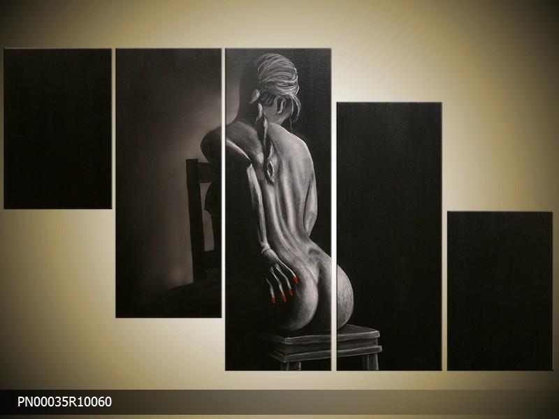 Acryl Schilderij Kunst, Sexy | Grijs, Zwart | 150x70cm 5Luik Handgeschilderd
