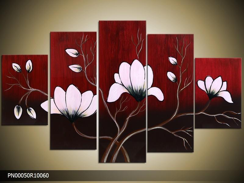 Acryl Schilderij Magnolia | Rood, Wit | 150x70cm 5Luik Handgeschilderd