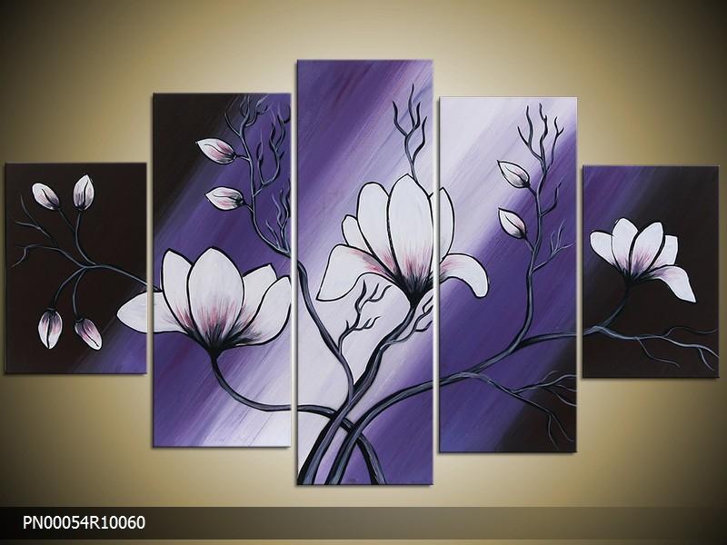 Acryl Schilderij Magnolia | Paars, Blauw, Zwart | 150x70cm 5Luik Handgeschilderd