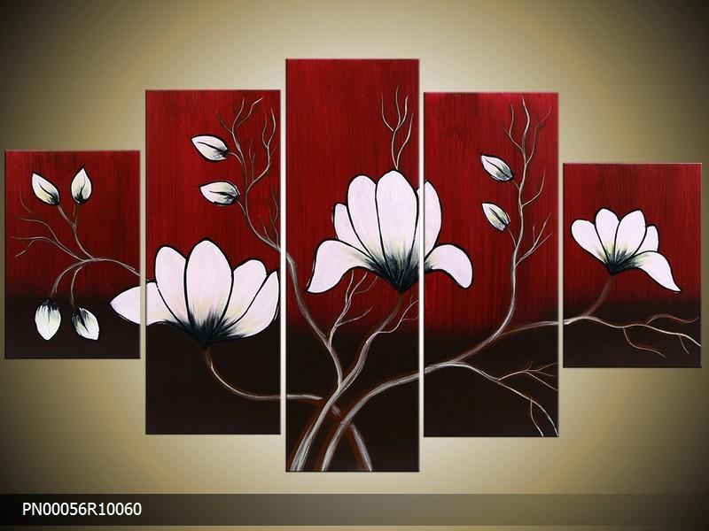 Acryl Schilderij Magnolia | Rood, Wit, Zwart | 150x70cm 5Luik Handgeschilderd