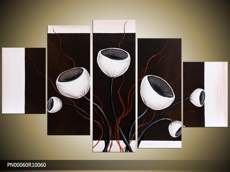 Acryl Schilderij Modern | Wit, Zwart, Rood | 150x70cm 5Luik Handgeschilderd