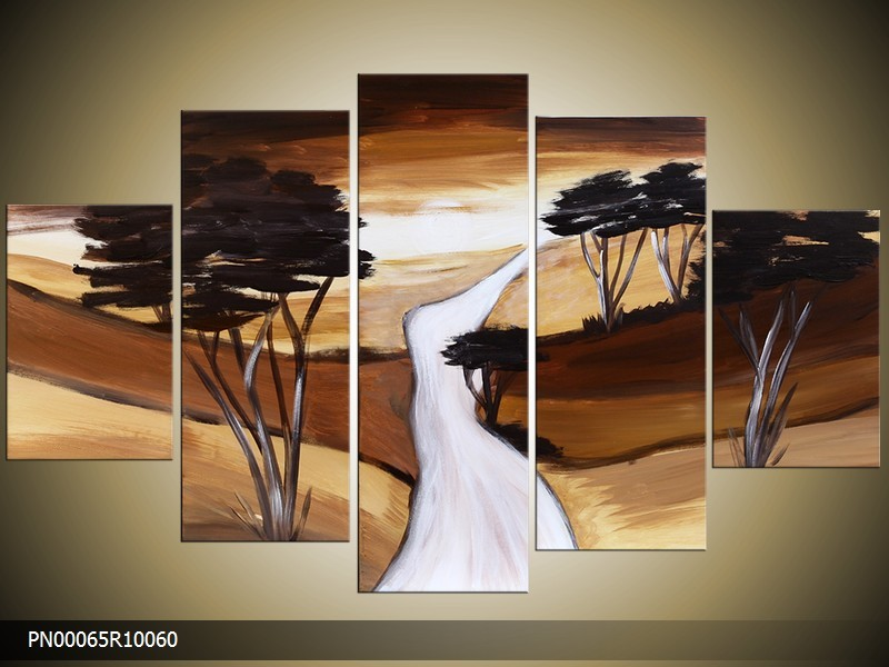 Acryl Schilderij Natuur | Bruin, Geel, Crème | 150x70cm 5Luik Handgeschilderd