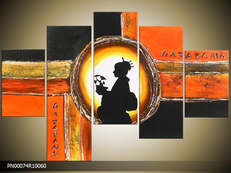 Acryl Schilderij Modern | Oranje, Zwart, Geel | 150x70cm 5Luik Handgeschilderd