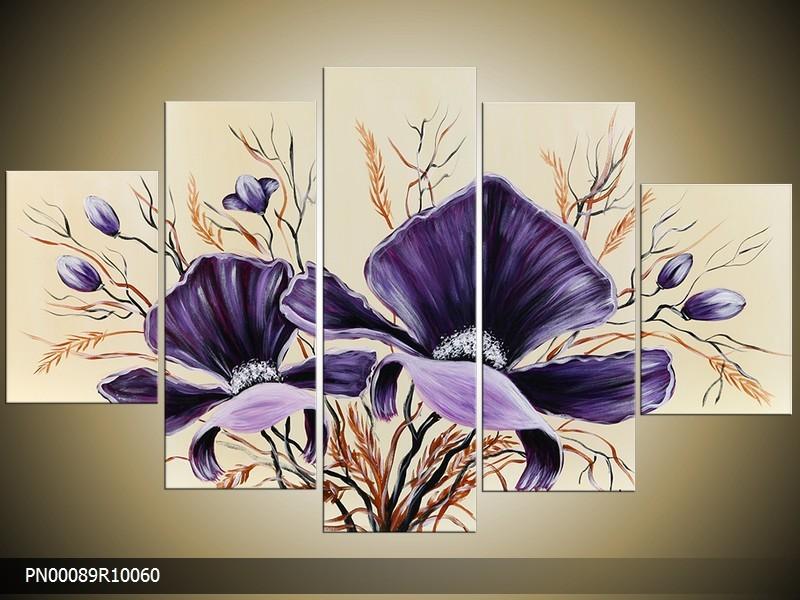 Acryl Schilderij Modern | Crème, Paars | 150x70cm 5Luik Handgeschilderd