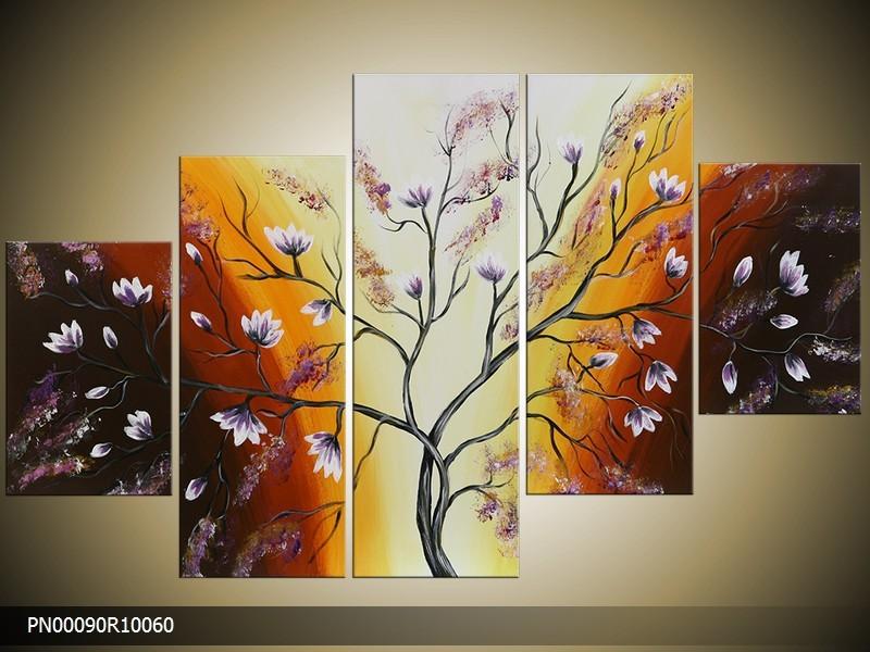 Acryl Schilderij Boom | Bruin, Crème, Geel | 150x70cm 5Luik Handgeschilderd