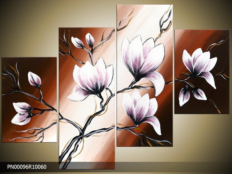 Acryl Schilderij Magnolia | Bruin, Crème, Paars | 150x70cm 5Luik Handgeschilderd