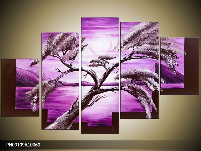 Acryl Schilderij Natuur | Paars, Wit | 150x70cm 5Luik Handgeschilderd