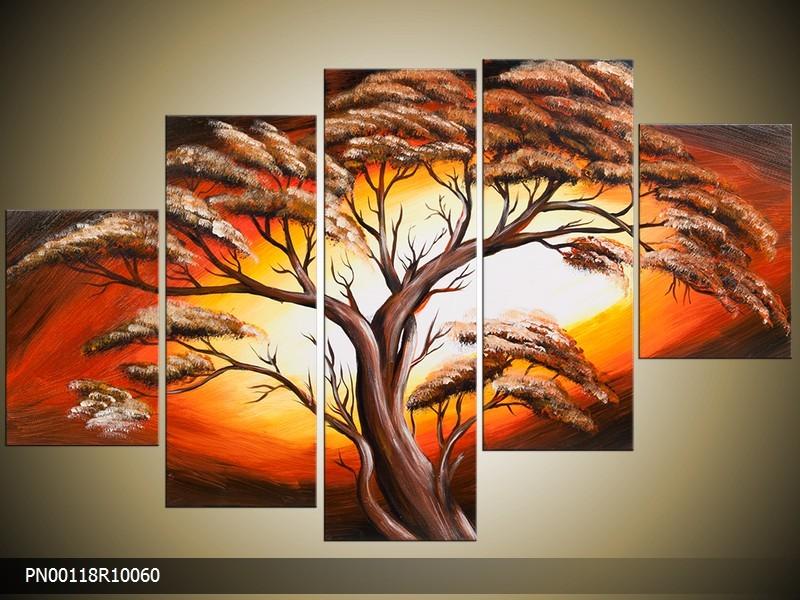 Acryl Schilderij Natuur | Oranje, Crème, Geel | 150x70cm 5Luik Handgeschilderd