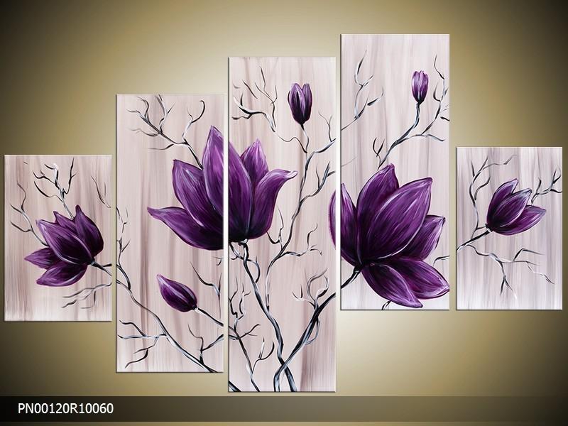 Acryl Schilderij Magnolia | Paars, Crème | 150x70cm 5Luik Handgeschilderd